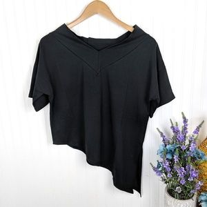 Tops - Assymetrical Short Sleeve Black Tee